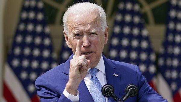 President Joe Biden gestures as he speaks about gun violence prevention in the Rose Garden at the White House, Thursday, April 8, 2021, in Washington.  - Sputnik International