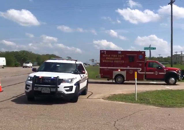 Screenshot from a video allegedly filmed on scene of the shooting incident in Bryan, Texas, on Thursday, 8 April 2021