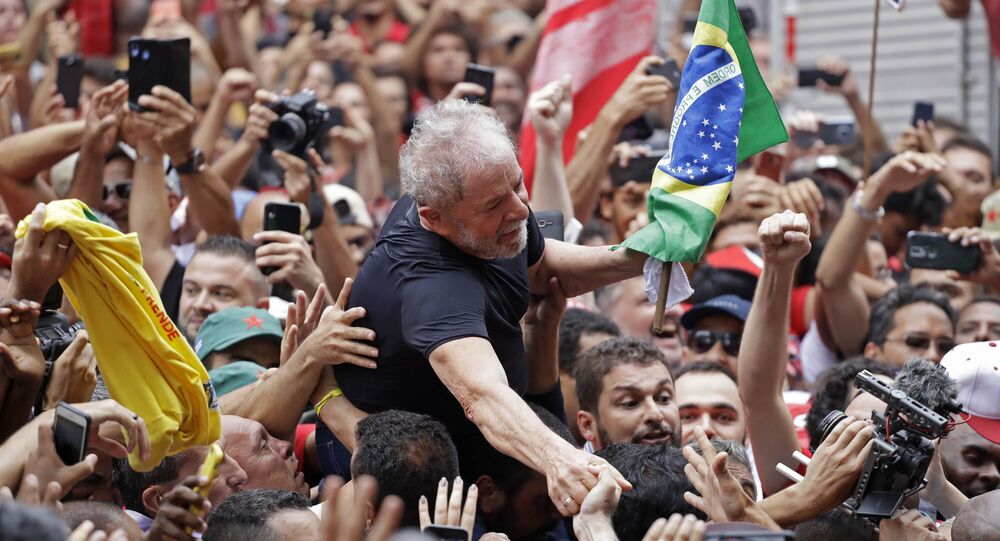 Former Brazilian President Luiz Inacio Lula da Silva is carried by supporters during a rally at the Metal Workers Union headquarters, in Sao Bernardo do Campo, Brazil, 9 November 2019