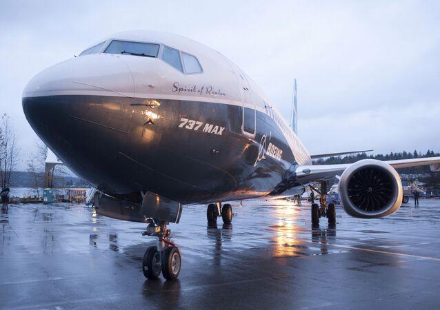 A Boeing 737 MAX 8 sits outside the hangar during a media tour of the Boeing 737 MAX at the Boeing plant in Renton, Washington