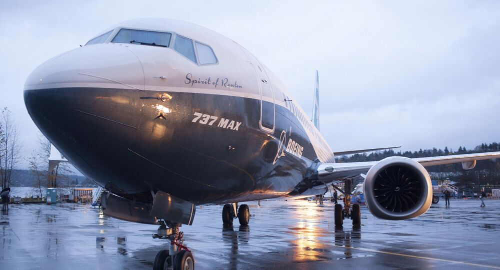 A Boeing 737 MAX 8 sits outside the hangar during a media tour of the Boeing 737 MAX at the Boeing plant in Renton, Washington