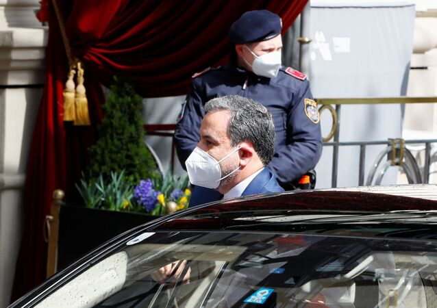 Iranian Deputy at Ministry of Foreign Affairs Abbas Araghchi arrives at a meeting of the JCPOA Joint Commission, in Vienna, Austria, April 6, 2021