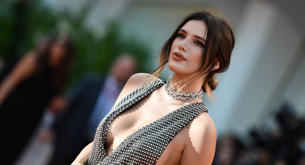 US actress Bella Thorne arrives for the screening of the film Joker on August 31, 2019 presented in competition during the 76th Venice Film Festival at Venice Lido.