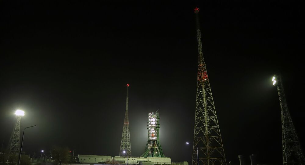 The Soyuz-2.1a carrier rocket with Progress MS-16 cargo spacecraft being launched from Baikonur Cosmodrome.
