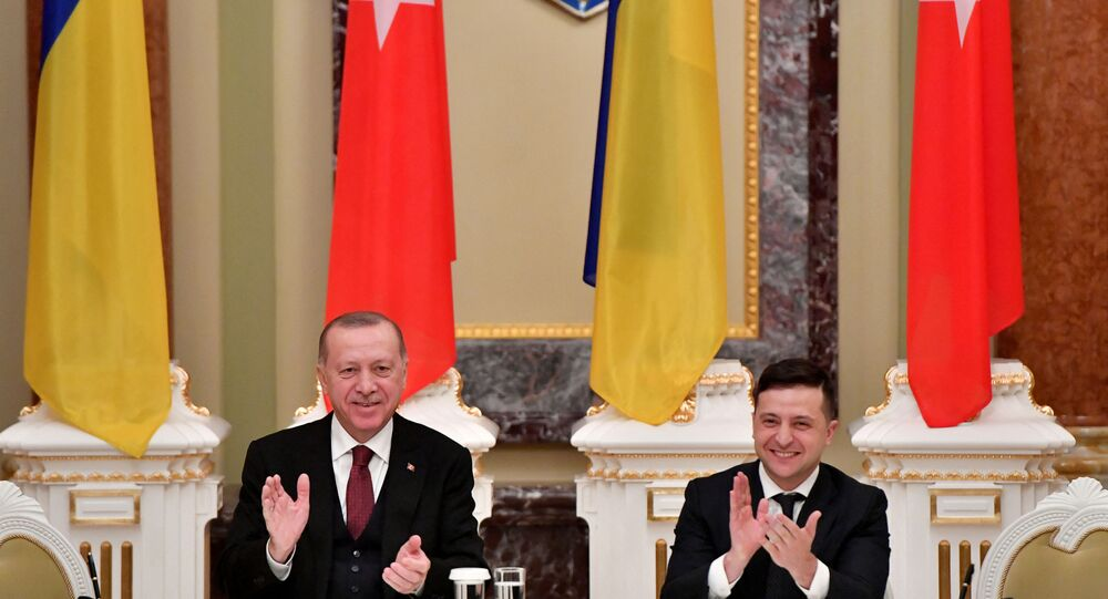Ukrainian President Volodymyr Zelensky and his Turkish counterpart Recep Tayyip Erdogan react during a joint press conference following their meeting in Kiev on February 3, 2020. (Photo by Sergei SUPINSKY / AFP)