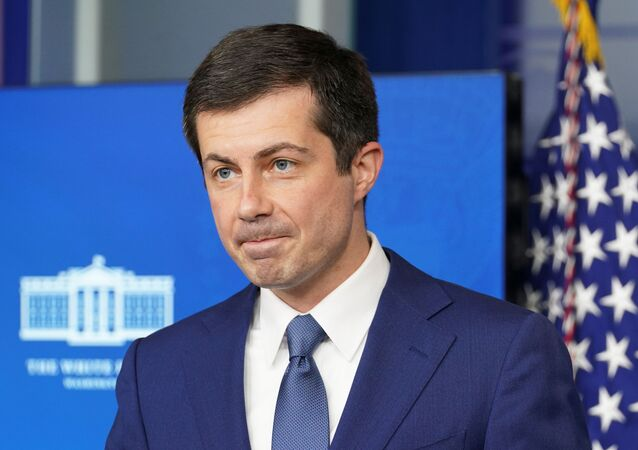 U.S. Secretary of Transportation Pete Buttigieg takes a question during a press briefing at the White House in Washington, U.S., April 9, 2021