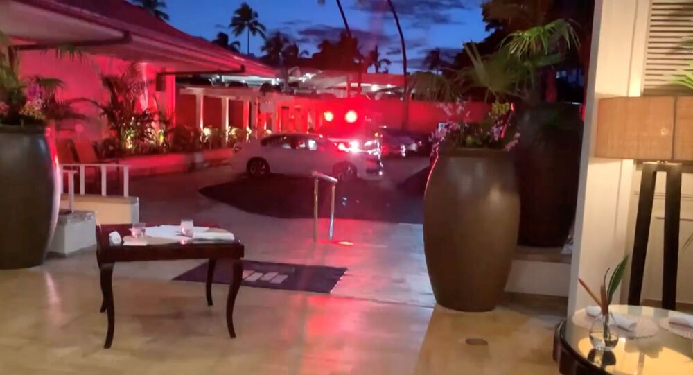 Emergency response vehicle is seen at Kahala Resort & Hotel in Honolulu, Hawaii, U.S., April 10, 2021 in this still image obtained from social media video. The hotel was placed on lockdown after an armed man fired shots through the door of a guest room and barricaded himself inside, but there were no reports of any injuries, Hawaii News Now reported.