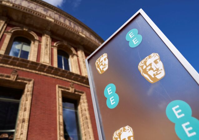 Logo of BAFTA Awards is seen during 74th British Academy Film Awards in London, Britain, April 11, 2021
