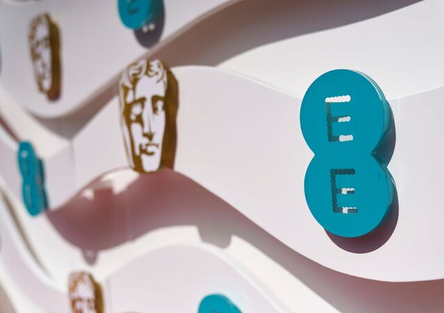 Logo of BAFTA Awards is seen during 74th British Academy Film Awards in London, Britain, 11 April 2021.