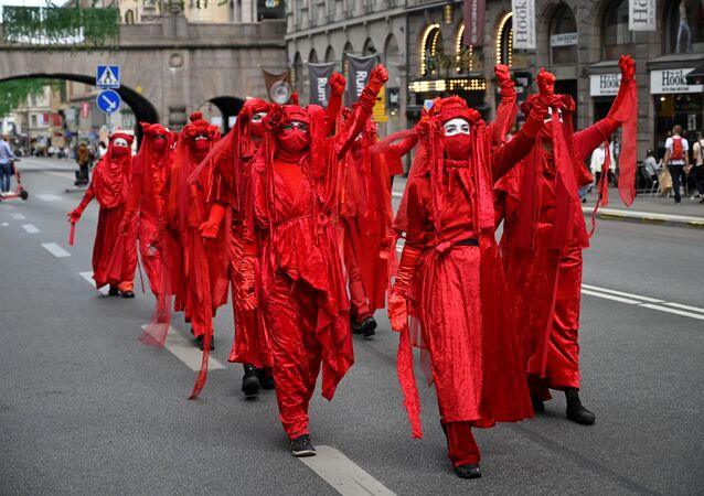 Climate acitivists from the Extinction Rebellion movement demonstrate in central Stockholm, Sweden, on August 28, 2020.