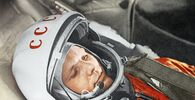 Cosmonaut Yuri Gagarin getting ready for the historic launch inside Vostok-1. It was launched from the Baikonur Cosmodrome on 12 April 1961.