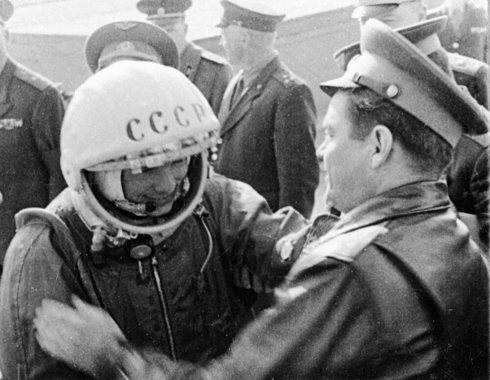 Gagarin bidding farewell to his fellow-cosmonauts before the big launch.