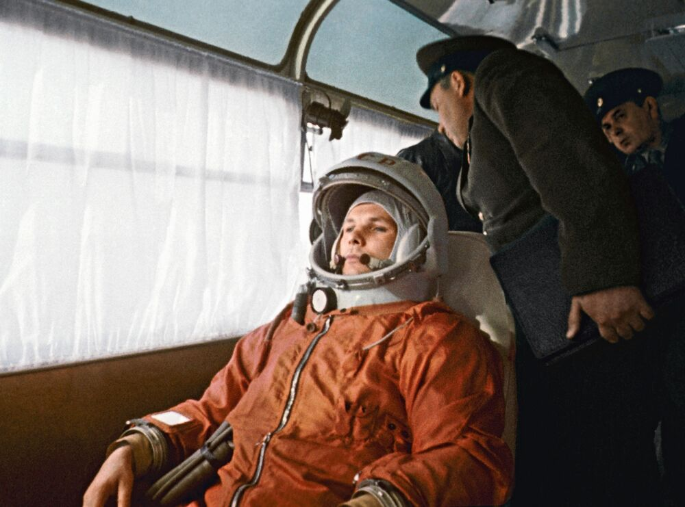 Gagarin heading to the launch pad on the bus ahead of the historic launch.