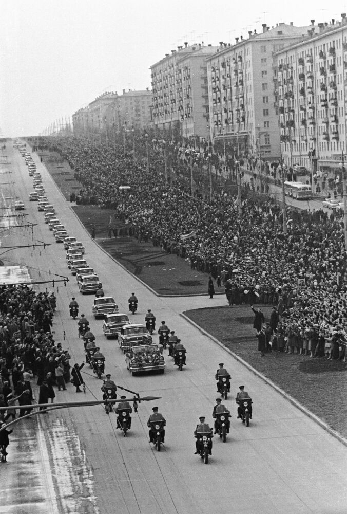 A reception for Gagarin in Moscow, where citizens welcomed the motorcade carrying the soviet hero.