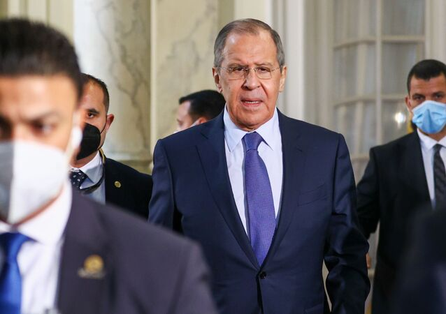 Russian Foreign Minister Sergei Lavrov (center) during his visit to Cairo, Egypt. Monday, 12 April, 2021.
