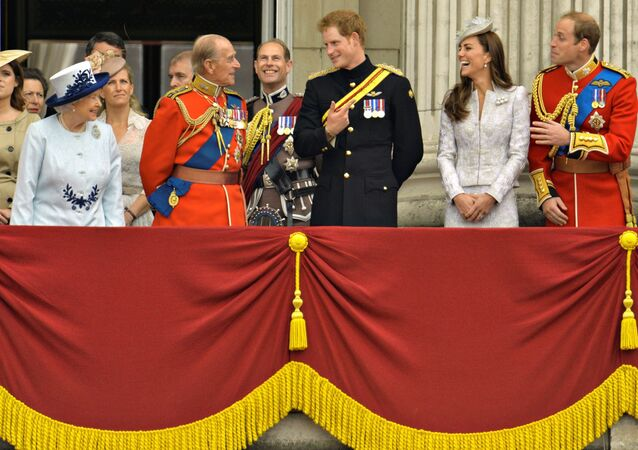 Britain's Queen Elizabeth, Prince Philip, Prince Harry, Prince William, the Duke of Cambridge and his wife, Catherine, the Duchess of Cambridge share a light moment as they stand on the balcony of Buckingham Palace in the annual Trooping of the Colour ceremony to celebrate the Queen's official birthday in central London, June 14, 2014