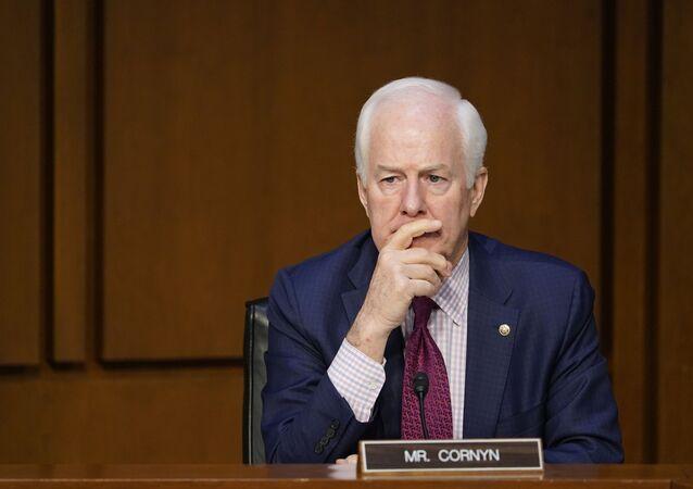 Sen. John Cornyn, R-Texas, attends a Senate Judiciary Committee meeting on Capitol Hill in Washington, Monday, March 1, 2021