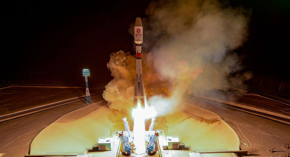 A Soyuz-2.1b rocket booster with 36 British OneWeb satellites blasts off from the launch pad at the Vostochny cosmodrome outside the city of Uglegorsk, about 200 kms from the city of Blagoveshchensk in the far eastern Amur region, on December 18, 2020.