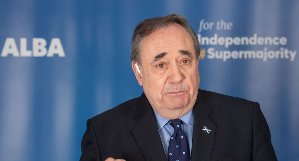 EDITORS NOTE: Graphic content / ALBA party leader and former First Minister of Scotland, Alex Salmond speaks during the launch of ALBA's national campaign during which a new 'Declaration for Scotland' was announced, in Ellon, Aberdeenshire, northwest Scotland on April 6, 2021.