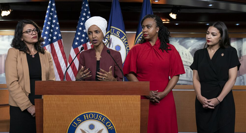 From left, U.S. Reps. Rashida Tlaib, D-Mich., Ilhan Omar, D-Minn., Ayanna Pressley, D-Mass., and Alexandria Ocasio-Cortez, D-N.Y., respond to base remarks by President Donald Trump after he called for four Democratic congresswomen of color to go back to their broken countries, as he exploited the nation's glaring racial divisions once again for political gain, during a news conference at the Capitol in Washington, Monday, July 15, 2019