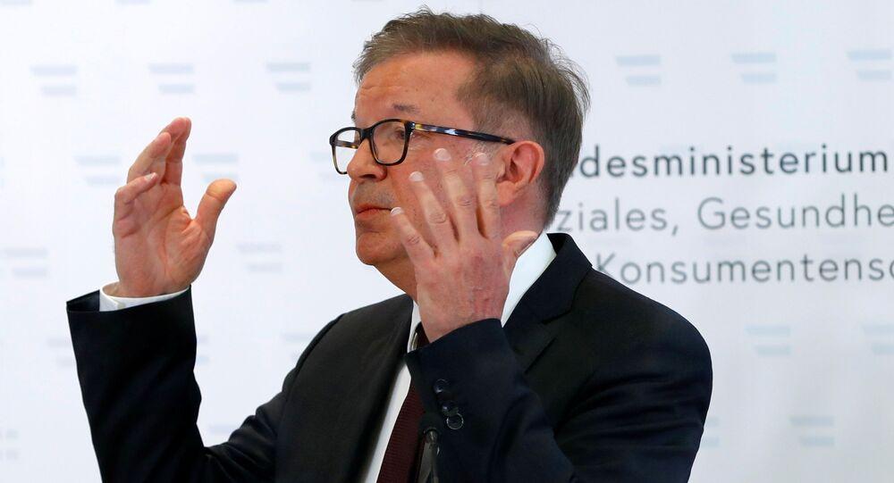 Austrian Health Minister Rudolf Anschober attends a news conference in Vienna, Austria, April 13, 2021