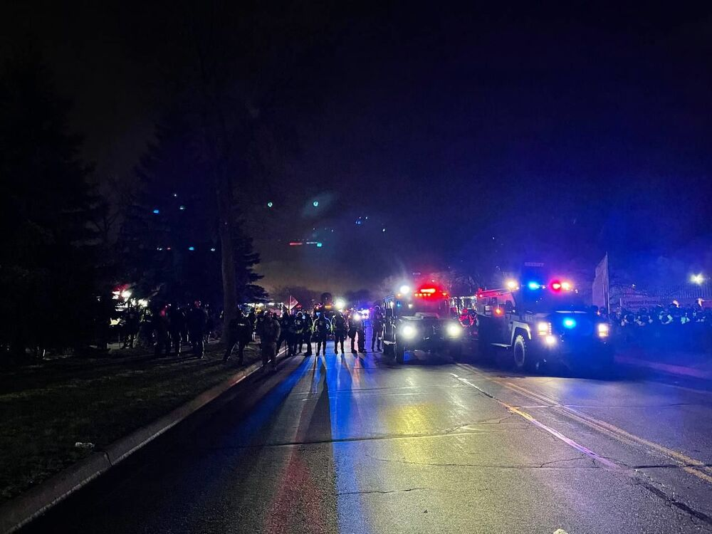Police officers during a protest in Brooklyn Center, Minnesota, US.
