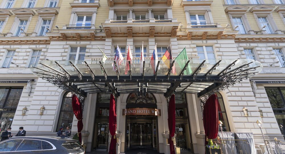Exterior view of the 'Grand Hotel Wien' in Vienna, Austria, Friday, April 9, 2021 where closed-door nuclear talks with Iran take place.