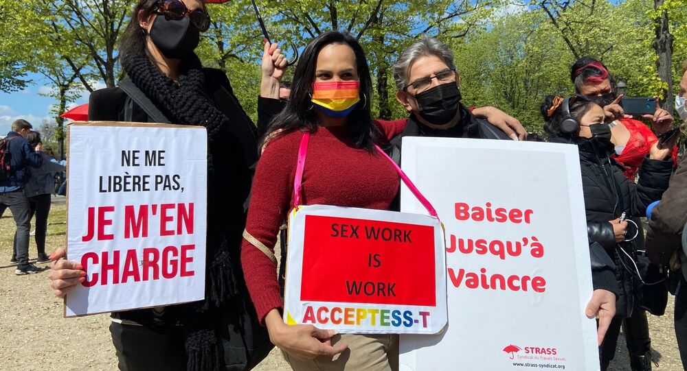 Sex workers rally in Paris on 13 April 2021