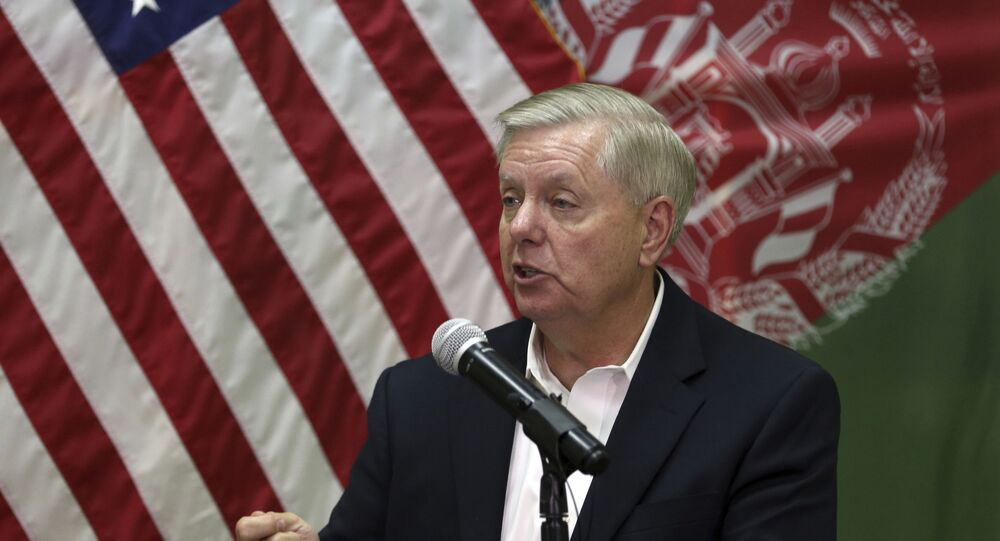 U.S. Senator Lindsey Graham, speaks during a press conference at the Resolute Support headquarters in Kabul, Afghanistan, Monday, Dec. 16, 2019.