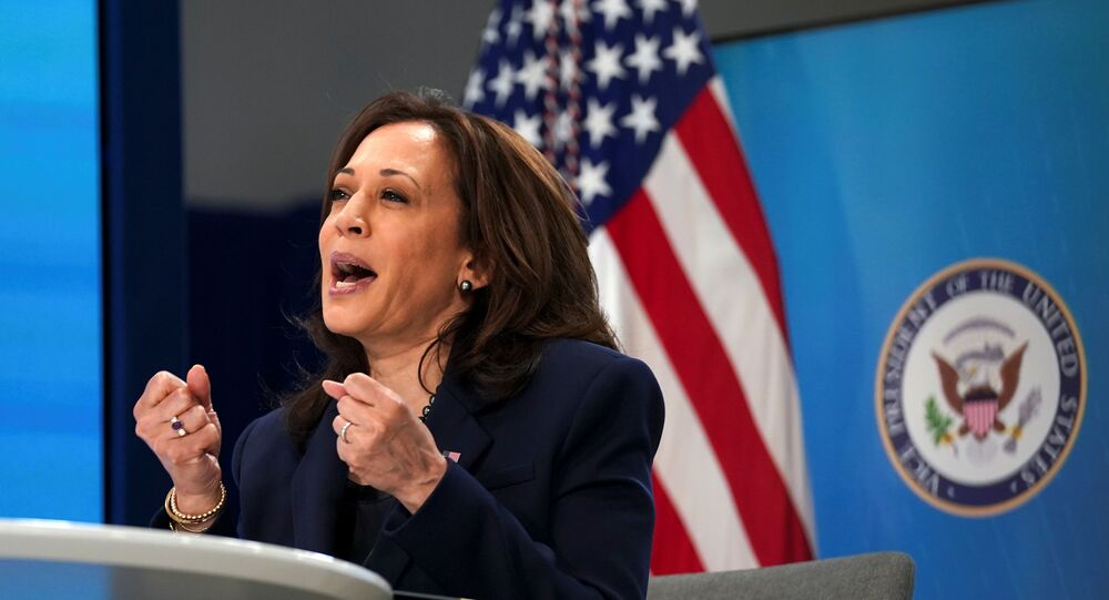 U.S. Vice President Kamala Harris speaks during a virtual meeting with founding members of the COVID-19 Community Corps to discuss Health and Human Services' COVID-19 public education campaign at the White House in Washington, U.S., April 1, 2021