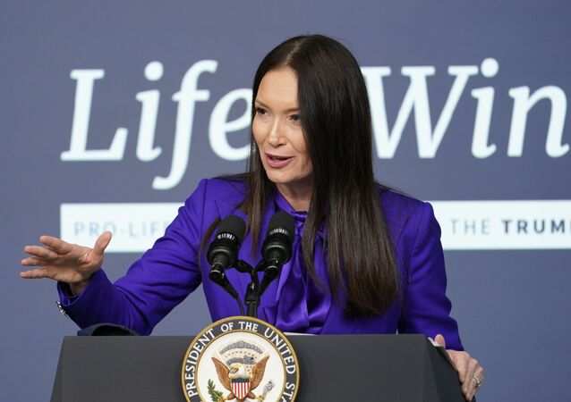 Brooke Rollins, Assistant to the President and Director of the White House Domestic Policy Council, speaks during a Life is Winning event in the South Court Auditorium on the White House complex in Washington, Wednesday, Dec. 16, 2020.