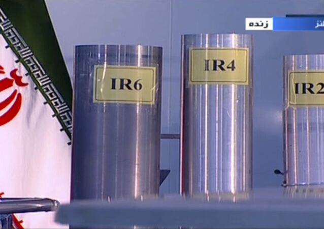 In this 6 June 2018 frame grab from Islamic Republic Iran Broadcasting (IRIB), a state-run TV network, three versions of domestically-built centrifuges are shown in a live TV programme from Natanz, an Iranian uranium enrichment plant, in Iran