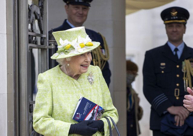 Britain's Queen Elizabeth II during a visit to the CWGC, the Commonwealth War Graves Commission Air Forces Memorial to attend a service to mark the Centenary of the Royal Australian Air Force, in Runnymede, England, Wednesday March 31, 2021