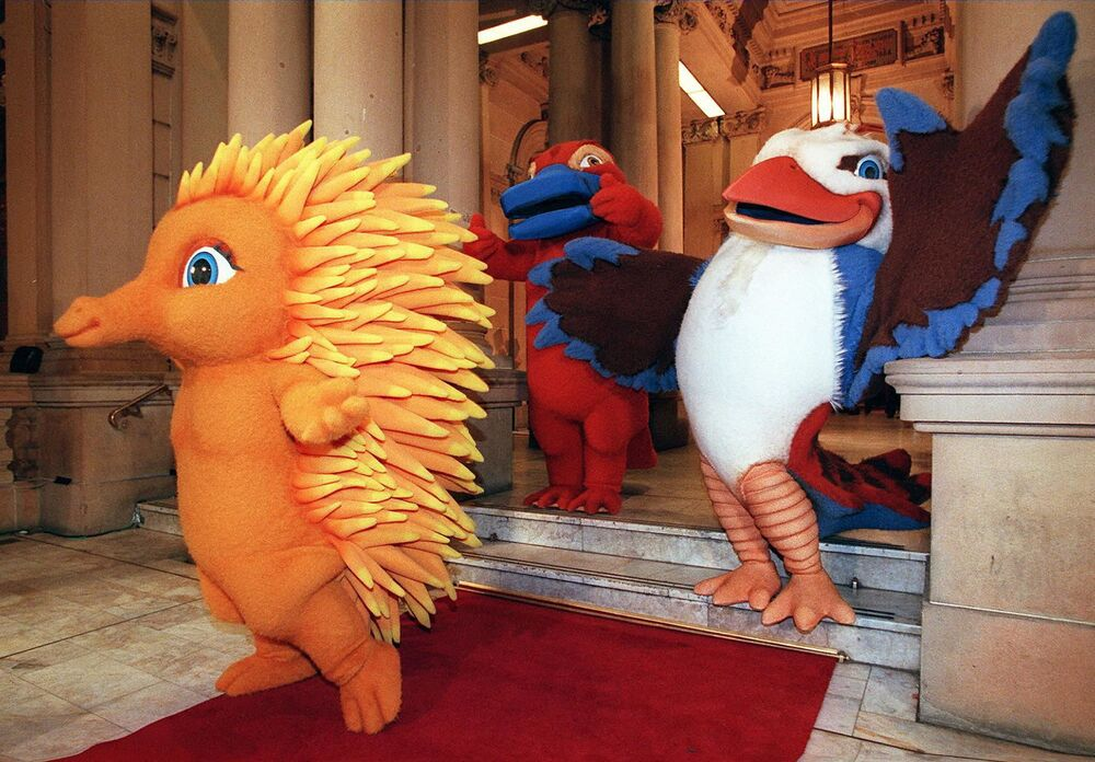 The mascots for the Sydney 2000 Olympic Games made their first public appearance in Sydney. The mascots were based on native Australian animals. They are Millie, the Echidna (L), Syd, the Platypus (C),  and Olly, the Kookaburra (R).