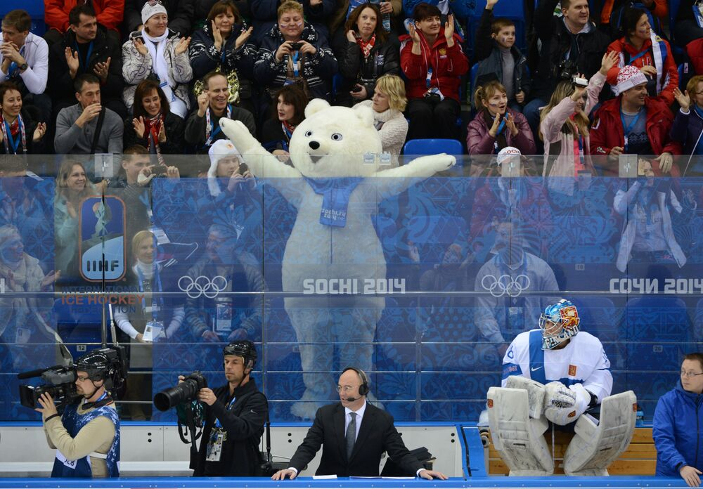 The Hare, the Polar Bear, and the Leopard were chosen as the official mascots of the Sochi 2014 Olympic Winter Games. This image shows the Hare joining spectators during the Olympic Hockey game between the US and Finland.