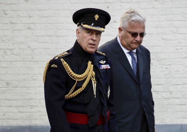Britain's Prince Andrew, the Duke of York, and Belgian Prince Laurent, right, attend a memorial ceremony to mark the 75th anniversary of the liberation from German occupation in Bruges, Belgium, Saturday, Sept. 7, 2019