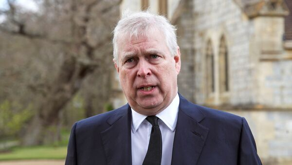 Britain's Prince Andrew speaks to the media during Sunday service at the Royal Chapel of All Saints at Windsor Great Park, Britain following Friday's death of his father Prince Philip at age 99, 11 April 2021 - Sputnik International