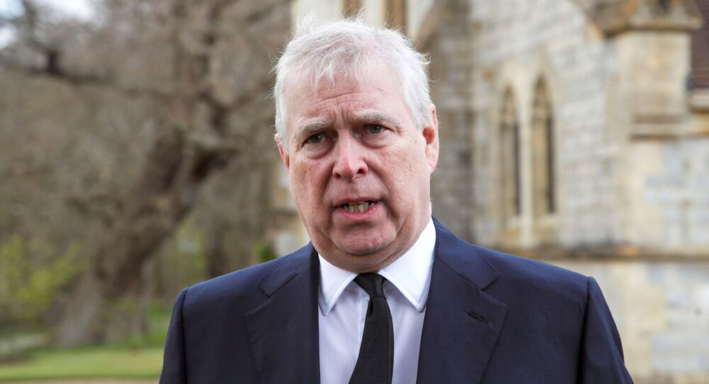 Britain's Prince Andrew speaks to the media during Sunday service at the Royal Chapel of All Saints at Windsor Great Park, Britain following Friday's death of his father Prince Philip at age 99, April 11, 2021