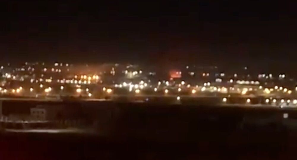 Screenshot captures moment in which an explosion broke out along Iraq's Erbil International Airport on Wednesday, April 14. Reports later confirmed that the incident was part of a three-pronged strike against Turkish Armed Forces in Iraqi Kurdistan.