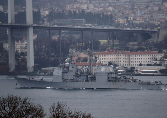U.S. Navy guided-missile cruiser USS Monterey (CG-61) sails in the Bosphorus, on its way to the Black Sea, in Istanbul, Turkey March 19, 2021