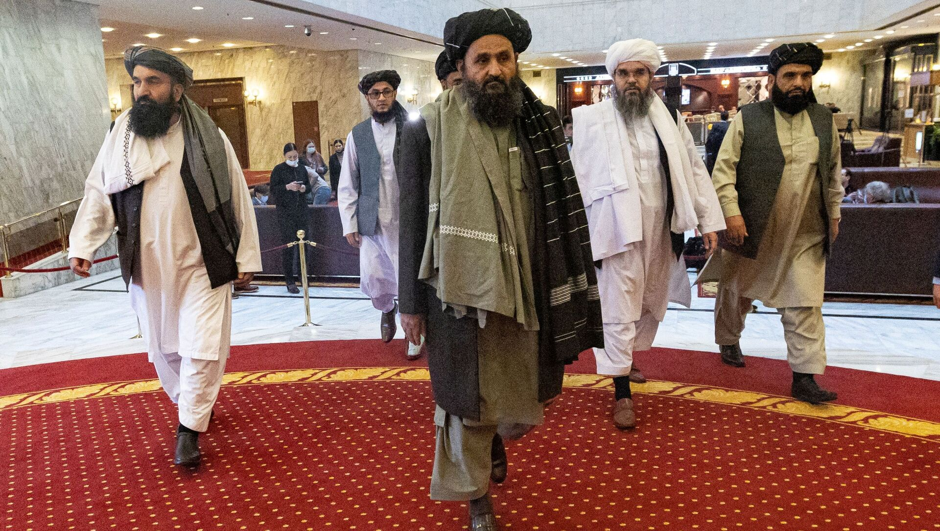 Mullah Abdul Ghani Baradar, the Taliban's deputy leader and negotiator, and other delegation members attend the Afghan peace conference in Moscow, Russia, 18 March 2021. - Sputnik International, 1920, 28.07.2021