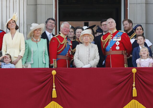 Britain's Queen Elizabeth, center, and members of the royal family attend the annual Trooping the Colour Ceremony in London, Saturday, June 8, 2019.