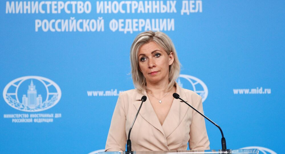 Russian Foreign Ministry spokeswoman Maria Zakharova during a briefing in Moscow.