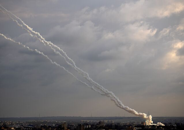 Rockets are launched from the Gaza Strip towards Israel, Monday, Feb. 24, 2020.