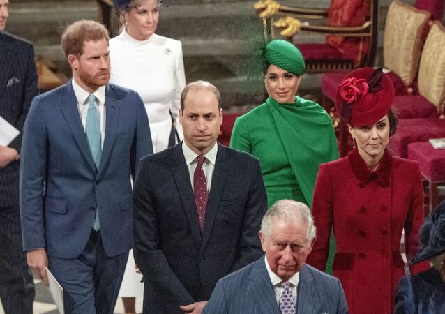 In this file photo dated Monday March 9, 2020, from back, Britain's Prince Harry and Meghan Duchess of Sussex, Prince William and Kate, Duchess of Cambridge, with Prince Charles, front, as the family members leave the annual Commonwealth Service at Westminster Abbey in London.