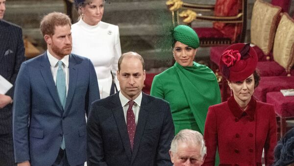 In this file photo dated Monday March 9, 2020, from back, Britain's Prince Harry and Meghan Duchess of Sussex, Prince William and Kate, Duchess of Cambridge, with Prince Charles, front, as the family members leave the annual Commonwealth Service at Westminster Abbey in London.  - Sputnik International