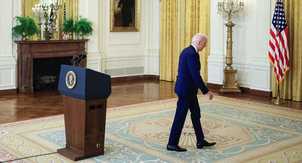 U.S. President Joe Biden departs after delivering remarks on Russia in the East Room at the White House in Washington, U.S., April 15, 2021.