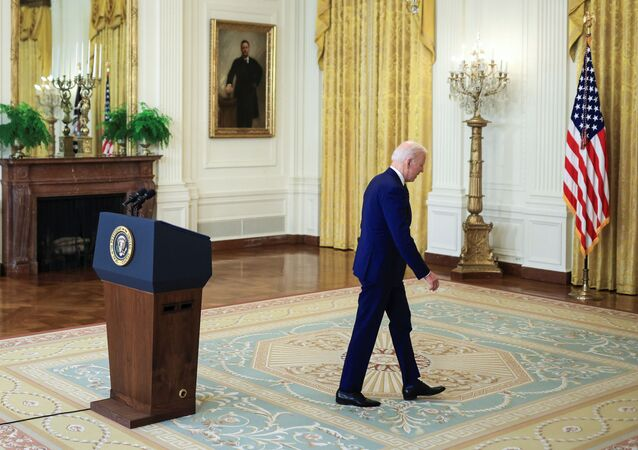 US President Joe Biden departs after delivering remarks on Russia in the East Room at the White House in Washington, 15 April 2021.