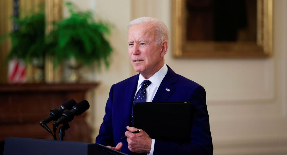 U.S. President Joe Biden delivers remarks on Russia in the East Room at the White House in Washington, U.S., April 15, 2021.