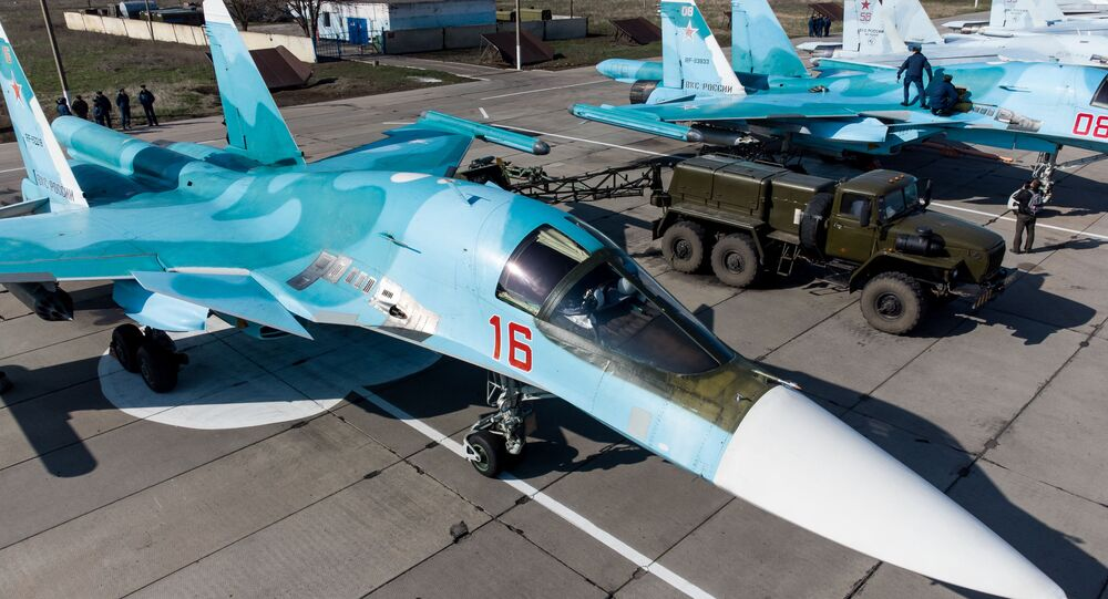 A Su-34 fighter-bomber before the start of the regional qualifying stage of the Aviadarts-2021 international flight crew training competition on the territory of an aviation regiment of the Southern Military District (YuVO) in the Krasnodar Territory.